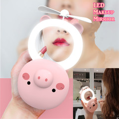 New Arrival USB Carton Piggy LED Lamp Makeup Mirror Fan Pocket Handheld Mini Fan Cooler Portable Fan pink