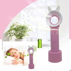New Arrival Bunny Ears Handheld Mini Fan Cooler Portable Fan USB Rechargeable Fan Leafless Fan pink