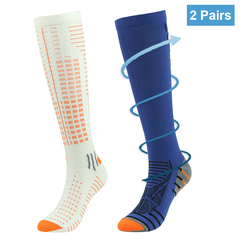 RANDY SUN Sports Compression Socks Knee High Edema Athlete Running Football Soccer Stocking 2 Pairs S/M 1 Pair Blue + 1 Pair White