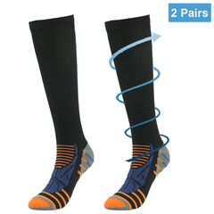 RANDY SUN Athlete Sports Compression Stocking Running Basketball Soccer Socks Knee High 2 Pairs 2 Pairs - Black S/M