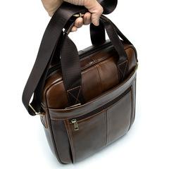 Men's Bag Business Vertical Portable Briefcase Retro Single Shoulder Bag 9.7 inch iPad brown one size