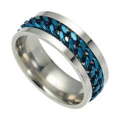 Men's Fashion Titanium Steel Chain Ring Can Turn blue 6