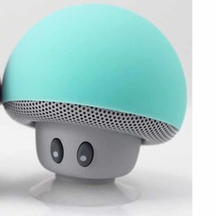 Mini-mushroom head Bluetooth speaker with sucker can be used as mobile phone bracket Light blue picture