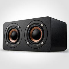 Wood Mini High Power Wireless Bluetooth Speaker black pictured