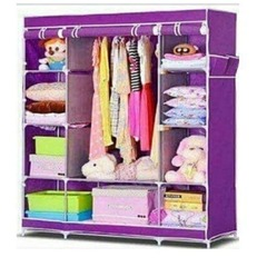 3 Columns Portable Wardrobe Purple