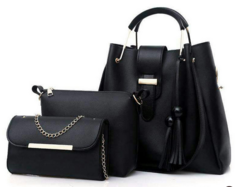 Elegant Ladies Handbag Black 3in1