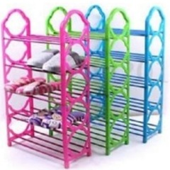 Portable Foldable Shoe Rack Pink