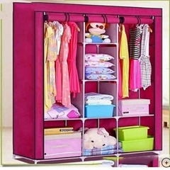 Portable Wardrope - 3 Column pink