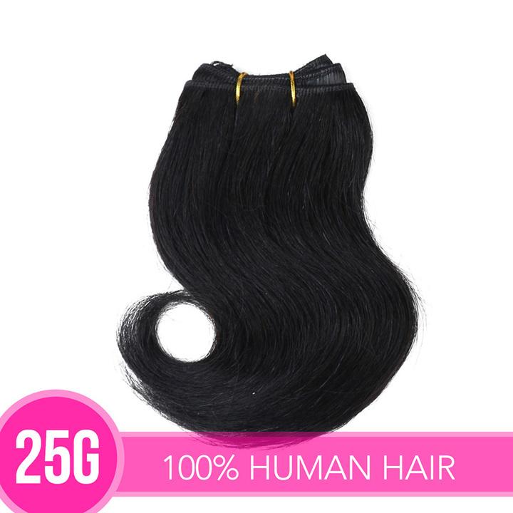"Peruvian Virgin Hair Double Drawn Human Hair Unprocessed Brazilian Hair Weave Bundles 25G/pc 8"" Natural Black 4 Pieces 25G*4"