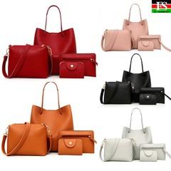 Womens Bags 4Pcs Pattern Leather Handbag Crossbody Messenger Card Package sac main femme borsa donna Pink one size