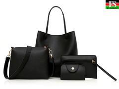 Womens Bags 4Pcs Pattern Leather Handbag Crossbody Messenger Card Package sac main femme borsa donna Black one size