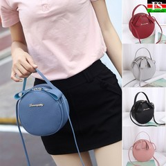 Women Round Bag Leather Women's Circular Crossbody Shoulder Messenger Bags Ladies Purse  Handbag Pink one size