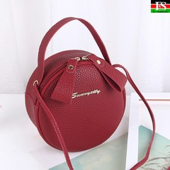 Women Round Bag Leather Women's Circular Crossbody Shoulder Messenger Bags Ladies Purse  Handbag Red one size