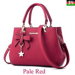 Elegant Shoulder Bag Women  Luxury Handbags Women Bags Plum Bow Sweet Messenger Crossbody Bag Pale Red one size