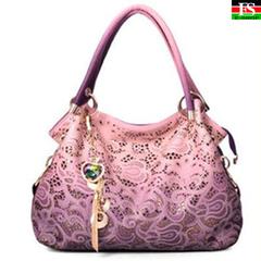 High Quality Women Shoulder Bag Hollow Female Bag New Lady Carved Handbag Female Messenger Bag pink 13.78*3.94*11.42in