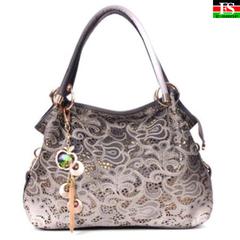 High Quality Women Shoulder Bag Hollow Female Bag New Lady Carved Handbag Female Messenger Bag gray 13.78*3.94*11.42in