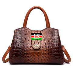 Vintage Fashion Crocodile Genuine Leather Luxury Handbags Women Bags Designer Female Shoulder Bag brown 13.39*6.3*9.45in