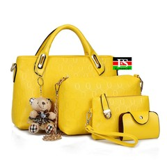Fashion Women'S Bag 2019 New Shoulder Bag Diagonal Cross Handbag Handbag Big Bag 4 Sets yellow 12.6*4.73*8.27in