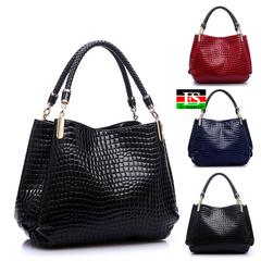 Women Leather Handbags 2019 Luxury Ladies Hand Bags Purse Fashion Shoulder Bags Bolsa Sac Crocodile red 14.18*4.33*11.42in