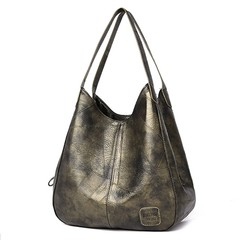 Women PU Leather Handbags High Quality Single Shoulder Bags Solid Multi-pocket Ladies Totes gold-green 11.82*4.73*11.03in