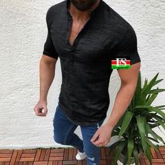 Men Casual Blouse Cotton Linen shirt Loose Tops Short Sleeve Spring Autumn Summer Men Shirt black l cotton