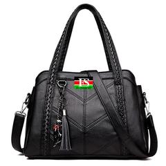 Women Messenger Bags Fashion Genuine Leather Handbags Ladies Large Capacity Tote Bag Crossbody Bags black 12.21*4.33*8.66in