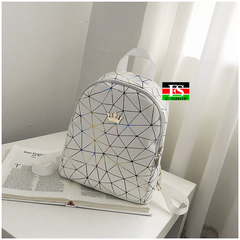 Women Mini Backpack PU Leather Shoulder School Rucksack Ladies Girls Travel Bag white 9.45*11.03*4.33inch