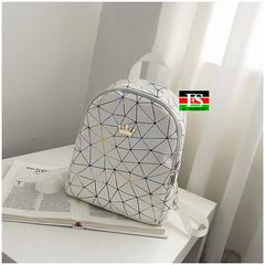 Women Mini Backpack PU Leather Shoulder School Rucksack Ladies Girls Travel Bag white 9.45*11.03*4.33inch