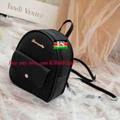 Mini Backpack Women PU Leather Shoulder Bag Function Small Bagpack Female Ladies Phone Pouch Pack black 8.27*7.29*3.15in