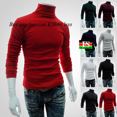Men Turtleneck Sweater Solid Color Casual Sweater Men Slim Fit Knitted Pullovers Bottoming Jumper Dark Green M