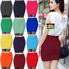 Elastic Pleated Skirt High Waist Bodycon Mini Skirt Business Office Cheap Short Pencil Skirts Yellow Free Size