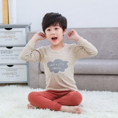 Kids Pajamas 2019 Autumn Girls Boys Sleepwear Nightwear Baby Infant Clothes Pajama Sets 100% Cotton B08 100