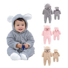 Jumpsuit Newborn Baby Boys Girls Cotton Clothes Infant Baby Winter Warm Outwear Hoodie Pajamas Pink 59