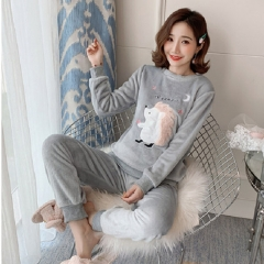Women Pyjamas Thick Flannel Sheep Female Warm Winter Pajama Set Long Sleeve Full Trousers Two Piece spw14 xxl
