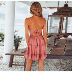 Summer ladies Beach Sexy deep V-neck casual sleeveless BOW LACE stitching dress pink m