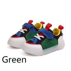 Shoes Girl kids fashion glowing casual shoes baby boy LED flash breathable sports shoe Black 22