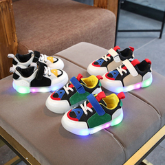 Shoes Girl kids fashion glowing casual shoes baby boy LED flash breathable sports shoe Green 21