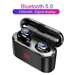 Bluetooth 5.0 Earphone Wireless Headphons Sport Handsfree Earbuds 3D Stereo  With Charging Box black