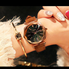 Casual Starry Sky Luxury Women Watches Ladies Magnetic Clock  Diamond Female Quartz Wristwatches Brown One Size