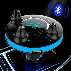 Bluetooth Car Kit FM Transmitter Handsfree Audio Modulator MP3 Player AUX Input Output TF USB Music blue one size