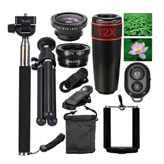 12X Telephoto Telescope 0.67X Wide Angle Macro 180 Degrees Fish Eye Ten in one Coordin For All Phone black one size