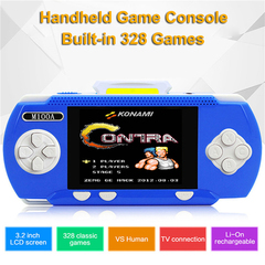Portable Game Console Mini Game Player Built-in 328 Free 8bit Games Video TV Out with one game card blue+controller