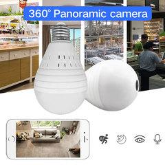 Bulb Light Wireless IP Camera 360 Degree Panoramic FishEye Security Wifi Motion Detection Camera white
