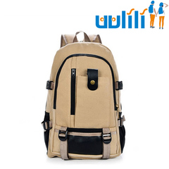 UULILI Leisure travel Backpack  Double Shoulder Bags canvas Bag Book Rucksack Rice white 11*6*17(in)