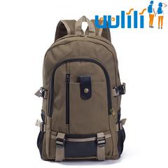UULILI Leisure travel Backpack  Double Shoulder Bags canvas Bag Book Rucksack brown 11*6*17(in)