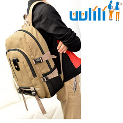 UULILI Leisure travel Backpack  Double Shoulder Bags canvas Bag Book Rucksack khaki 11*6*17(in)