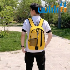UULILI Korean Style Men Backpack  Double Shoulder Bags Nylon Bag Book Rucksack yellow 10*5*16(in)