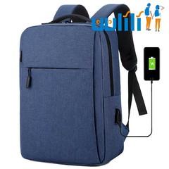 UULILI  Laptop Backpack USB  Men Travel Backpack Waterproof School Bag Double Shoulder Bags blue 11*5*16(in)
