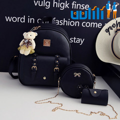 UULILI  Double Shoulder Bags Pu backpack Student fashion backpack  Korean Style  Women Lash package black 10*5*12(in)