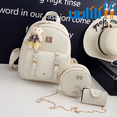 UULILI  Double Shoulder Bags Pu backpack Student fashion backpack  Korean Style  Women Lash package Rice white 10*5*12(in)